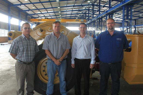 The teams from TRP and Rham Equipment. From left: Andre Heydenrych (engineering leader at TRP), Andre Crouse (general engineering superintendent at TRP), Kevin Reynders (managing director at Rham), and Michael Combrink (sales manager at Rham). Image credit Leon Louw
